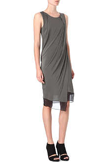 HELMUT LANG Draped sheer-panel dress