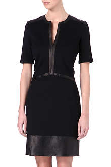 HELMUT LANG Panelled leather-trimmed dress