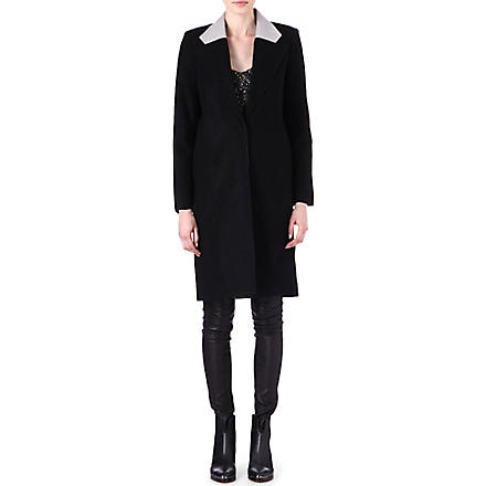 HELMUT LANG Meta leather-collar coat (Black/glacier