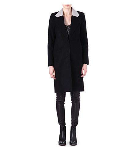 HELMUT LANG Meta leather-collar coat (Black/glacier