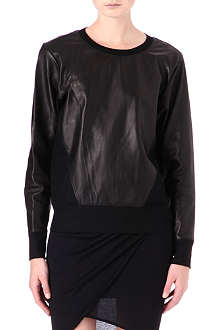 HELMUT LANG Leather and jersey sweatshirt