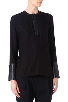 HELMUT LANG Leather-trim top