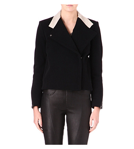 HELMUT LANG Performa contrast-collar jacket (Black