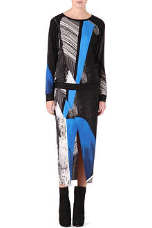 HELMUT LANG Abstract-print drape skirt