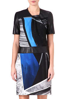 HELMUT LANG Fractured-print leather-trimmed dress