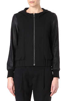 HELMUT LANG Leather-sleeved hooded bomber jacket