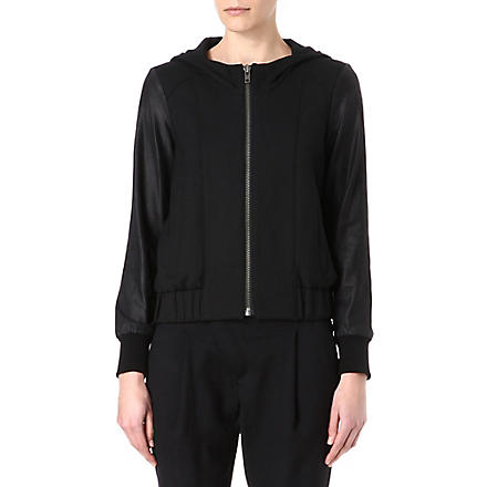 HELMUT LANG Leather-sleeved hooded bomber jacket (Black