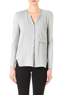 HELMUT LANG Collarless crepe panel shirt