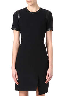 HELMUT LANG Asymmetric hem leather-trim dress