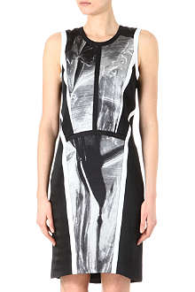 HELMUT LANG Panelled print satin dress