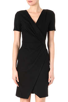 HELMUT LANG Short-sleeved draped wool dress