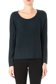 HELMUT LANG Scoop neck ribbed wool pullover