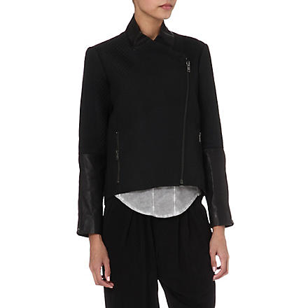 HELMUT LANG Topstitch and leather jacket (Black