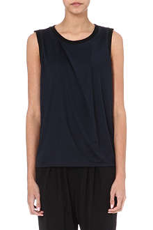 HELMUT LANG Asymmetric jersey sleeveless top