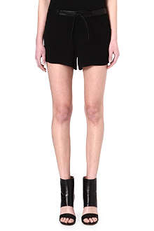 HELMUT LANG Leather-waistband crepe shorts