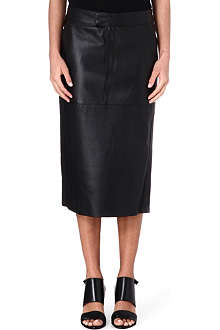 HELMUT LANG Side-split leather skirt