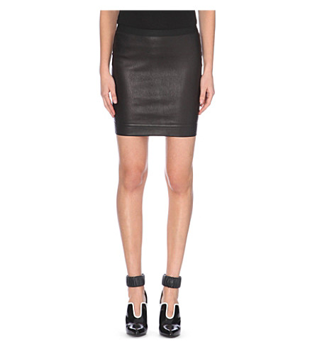 helmut lang stretch leather mini skirt selfridges