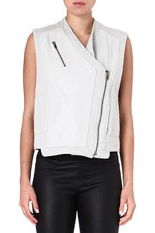 HELMUT LANG Sleeveless leather biker jacket