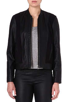 HELMUT LANG Leather and jersey bomber jacket