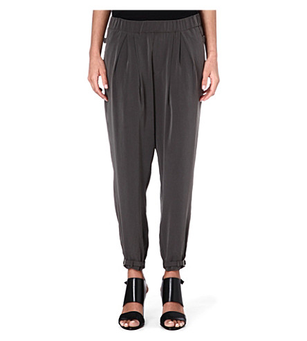 HELMUT LANG Pleated-waist crepe trousers (Mantle