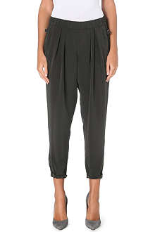 HELMUT LANG Pleated-waist crepe trousers