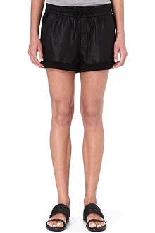 HELMUT LANG Leather and jersey shorts