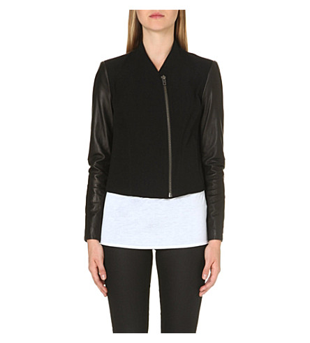 HELMUT LANG Contrasting leather biker jacket (Black