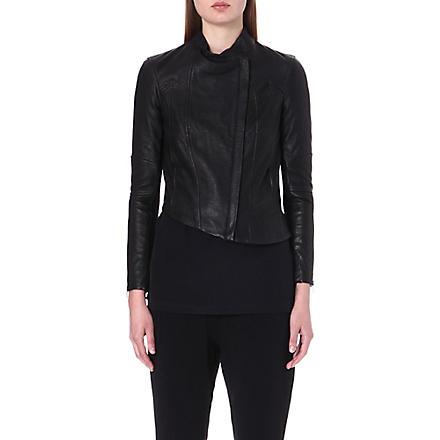 HELMUT LANG Asymmetric leather jacket (Black
