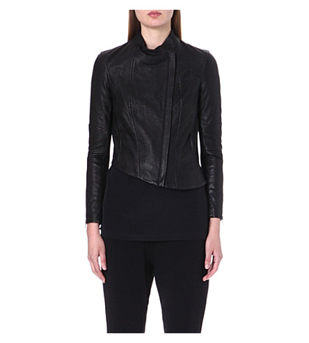 HELMUT LANG Asymmetric leather jacket (Black