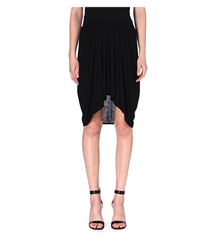 HELMUT LANG Pleated jersey skirt (Black