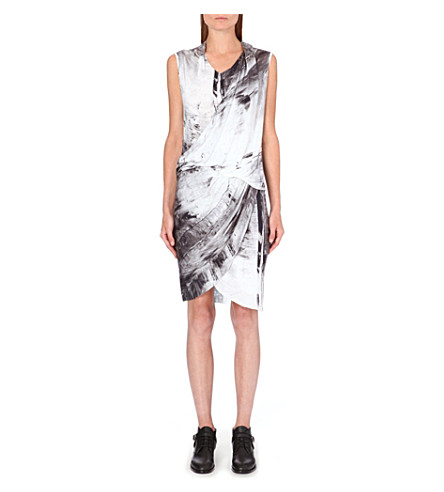 HELMUT LANG Tidal print dress (Greyscale