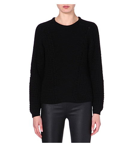 HELMUT LANG Knitted long-sleeved jumper (Black