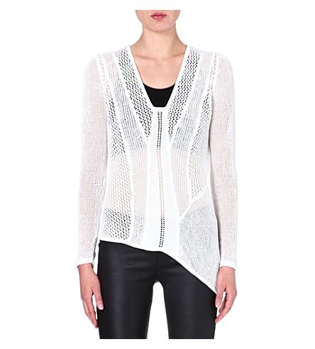 HELMUT LANG Open-knit linen-blend jumper (White