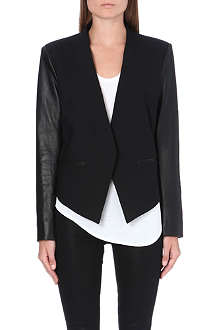HELMUT LANG Cropped tuxedo leather jacket