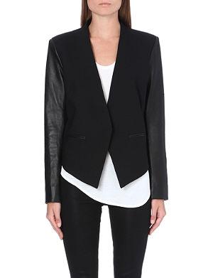 HELMUT LANG Cropped tuxedo leather jacket