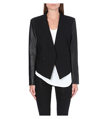 HELMUT LANG Cropped tuxedo leather jacket (Black