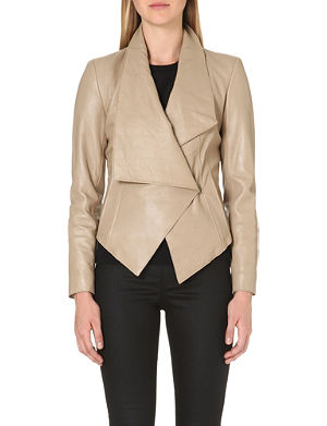 HELMUT LANG Fold-over pointed leather jacket