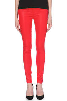 HELMUT LANG Skinny mid-rise high-gloss stretch-denim jeans