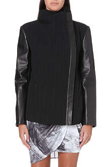 HELMUT LANG Leather-panel crepe jacket