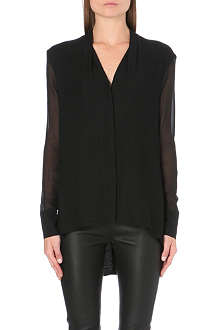 HELMUT LANG Morse draped sheer-sleeve shirt