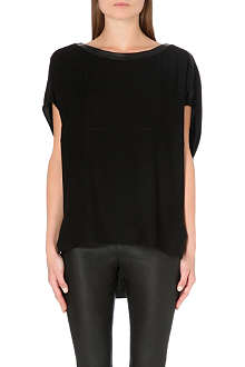HELMUT LANG Leather-trim jersey top