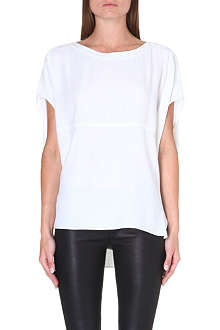 HELMUT LANG Leather-detail stretch-crepe top