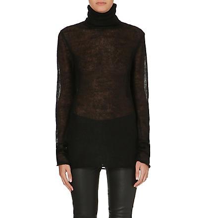 HELMUT LANG Turtleneck mohair and silk-blend jumper (Black