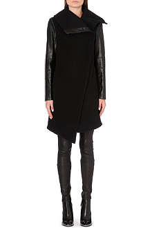 HELMUT LANG Inclusion leather-panel wool-blend coat