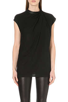 HELMUT LANG Leather-trim draped top