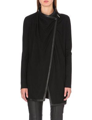 HELMUT LANG Leather-trim wool cardigan