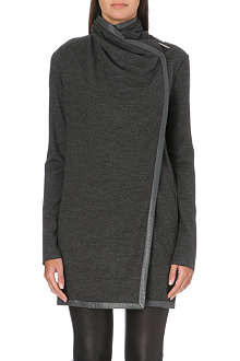 HELMUT LANG Leather-trim wool cardigan