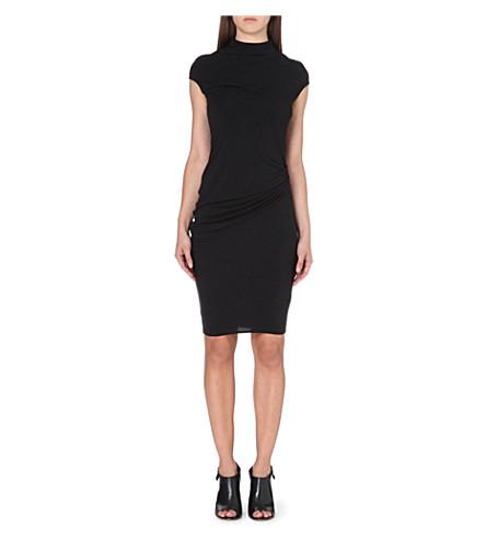 HELMUT LANG Ruched-detail jersey dress (Black