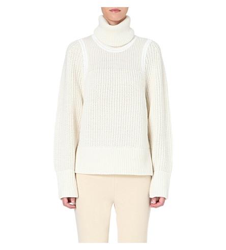 HELMUT LANG Austere knitted turtleneck jumper (Natural