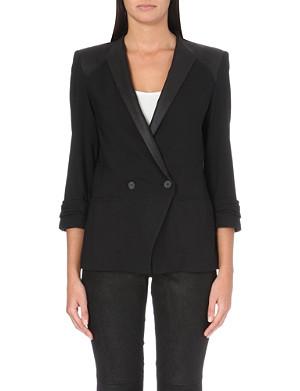 HELMUT LANG Smoking leather-panelled tuxedo jacket